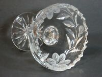 "ABP American Brilliant Period Glass Compote Floral/Zipper Sawtooth Cut 4.5"" EUC!"