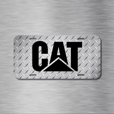 Caterpillar CAT Black Simulated Diamond Plate License Front Auto Tag