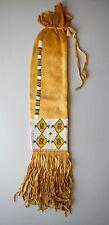 Reproduction Native American beaded pipe bag brain tan leather