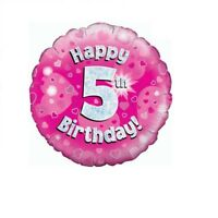 Happy 5th Birthday Holographic Pink Foil Balloon 45 cm (18 inch) Party Decor