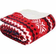 Christmas Sherpa Sofa Throw Fair Isle Cosy Super Soft Blanket 150 x 180cm Red
