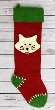 "20"" Wool Knitted 3D White Cat Kitten Christmas Hanging Red Green Mantel Stocking"