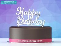 """Classic """"Happy Birthday"""" - White - Designed and made by Original Cake Toppers"""