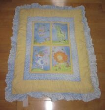 Carters Blue Yellow Stars Giraffe Lion Dog Elephant Baby Crib Quilt Blanket