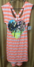 OP Juniors Swim Cover Up Dress Cali Heart Orange White  Size S(3-5) NWT