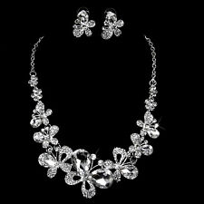 Bridal Wedding Party Jewelry Crystal Butterfly Love Flower Necklace Earrings Set