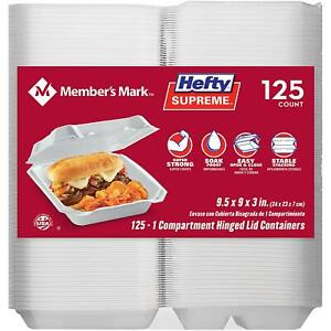 """(125 TRAYS) HEFTY SUPREME 1-COMPARTMENT RESTAURANT CARRY OUT TRAY 9.5"""" x 9"""" x 3"""""""