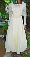 VINTAGE 1960's /70's IVORY  SATINY FABRIC WEDDING DRESS W/ LACE BOWS CRINOLINE