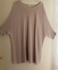 Eileen Fisher -Sz 1X Oatmeal Open-Knit Lagenlook Organic Linen Tunic Sweater Top
