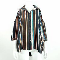 Quiz UK 12 Stripe Multicolour Cold Shoulder Blouse / Shirt