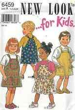Vintage NEW LOOK SEWING Pattern 6459 Girls Jumper 1/2 1 2 3 4 UNCUT OOP NEW SEW