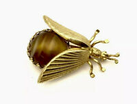 Vintage Gold Tone Marbled Amber Glass Cabochon Paste Beetle Insect Brooch