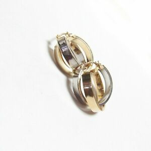 Estate 14K Yellow And White Gold Double Mini Hoop Earrings