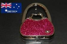 Kitty Head Dark Pink Sparkling Diamante Folding Handbag Hanger Holder Hook Table