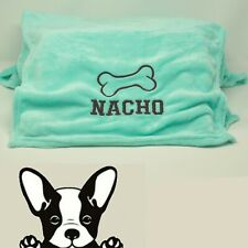 Turquoise Hand Made Embroidered Personalised Dog Blanket 2 sizes