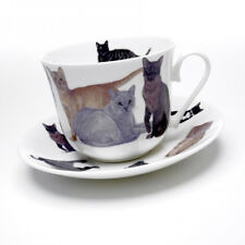 Roy Kirkham Cats Galore Large 450ml Breakfast Cup & saucer Bone China Gift New