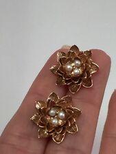 14Kt Rose Plated Stud Earrings Designer Anitanja Dimensional Water Lily Bronze