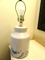1960's Barrel Shaped Pottery Table Lamp-Colonial-Americana-Salt Glaze Style-No S