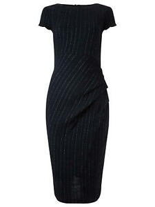 Phase Eight Navy Blue Pinstripe Fitted Pencil Wiggle Dress UK 12 EU 40 US 8