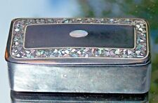 DELIGHTFUL GEORGIAN BLACK PAPIER MACHE SNUFF BOX INLAID WITH MOTHER OF PEARL