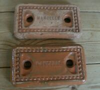 Two old French thin red bricks with Mancelle stamp