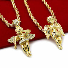 "Men 14k Gold Plated High Fashion 2 pcs set of Angels 4mm 30"" & 24"" Rope chain #5"