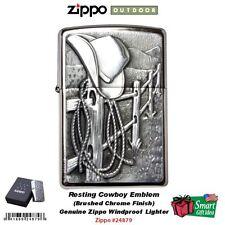 Zippo Resting Cowboy Emblem Lighter, Brushed Chrome,USA Genuine Windproof #24879