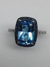 10K White Gold Emerald Cut Blue Topaz Ring with Blue Diamond Halo Size 7.25 New