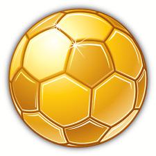 """Soccer Ball Golden Car Bumper Sticker Decal 5"""" x 5"""""""