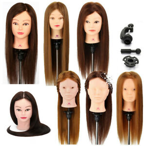 30%-100% Real Hair Training Head Hairdressing Styling Mannequin Doll & Clamp UK