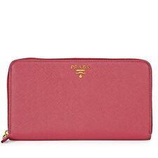 Prada Saffiano Leather Zip-Around Wallet - Peonia