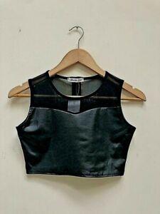 ✅New Black PU Wet Look Mesh Insert ✅Zip Back Crop Top Size SM 8-10 BNWT✅