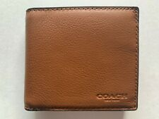 NWT Coach Men's Leather Coin Sport Calf Wallet Saddle F75003