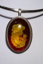 BALTIC AMBER Hand Carved Cameo Pendant Brooch Sterling Silver Antique