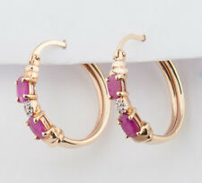10K YELLOW GOLD  RUBY & Diamond accent Earrings Hoops Birthstone