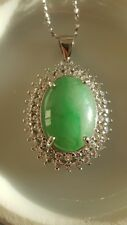 Genuine Large 7.6ct Jadeite Jade Cabochon(Type A) 925 Silver Pendant with Chain