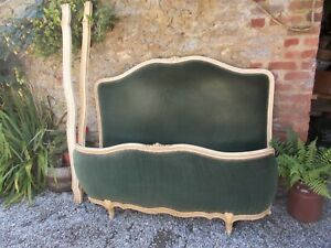 Antique French Louis XV style Rococo double bed, demi corbeille bed,