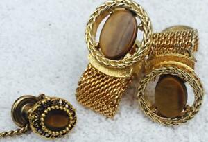 Gold Weave Cufflinks + Tie Tack with Quality Tigers Eye Gemstone Symbol Courage