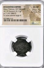 Byzantine Empire Maurice Tiberius Ae20 Nummi Ngc Choice Xf 4/4 Ancient Coin