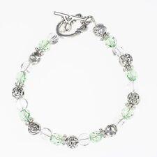 Beaded Perdot Crystal Silver Bracelet- Handmade August Birthstone Bracelet