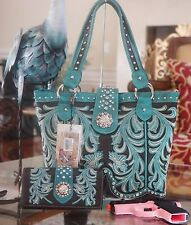 WESTERN MONTANA WEST EMBROIDERY 3 COMPARTMENT CONCEALED CARRY HANDBAG+WALLET SET