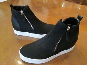 New STEVE MADDEN Loxley Black Mesh Wedge High Top Sneaker Side Zip Womens 7.5 M