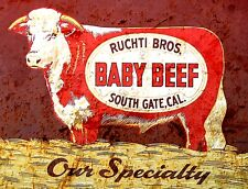 """TIN SIGN"""" Ruchti Bros Beef"""" Food Signs  Rustic Wall Decor"""