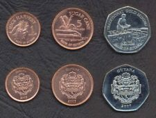 GUYANA COMPLETE COIN SET 1+5+10 Dollars 2007-2008 UNC LOT OF 3