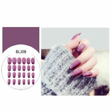 24pcs Fake Finger Nails Color Acrylic Artificial False Full Cover Nail Art MD