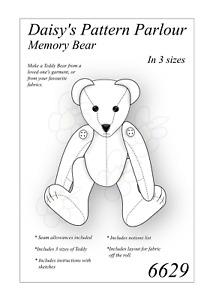 Memory Teddy Bear Sewing Pattern X 3 Sizes Soft Toy Plush Keepsake