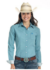 Panhandle Slim Women's Green & Blue Small Check Print Button Up Shirt R4B1511