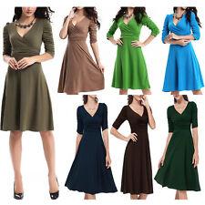 Women's Elegant Office Work V Neck Stretchy Dress 3/4 Sleeves Maternity Fashion