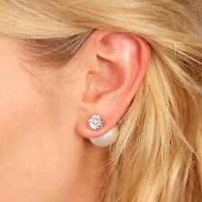 Kristin Perry 18k White Gold Cubic Zirconia Crystal Stud Pearl Earrings