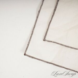 QUALITY Anonymous Off White Linen Feel Truffle Piped Hand Rolled Pocket Square